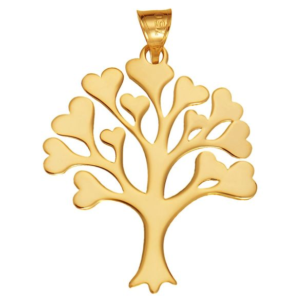 آویز گردنبند طلا 18 عیار زنانه طرح درخت و قلب مدل SG157