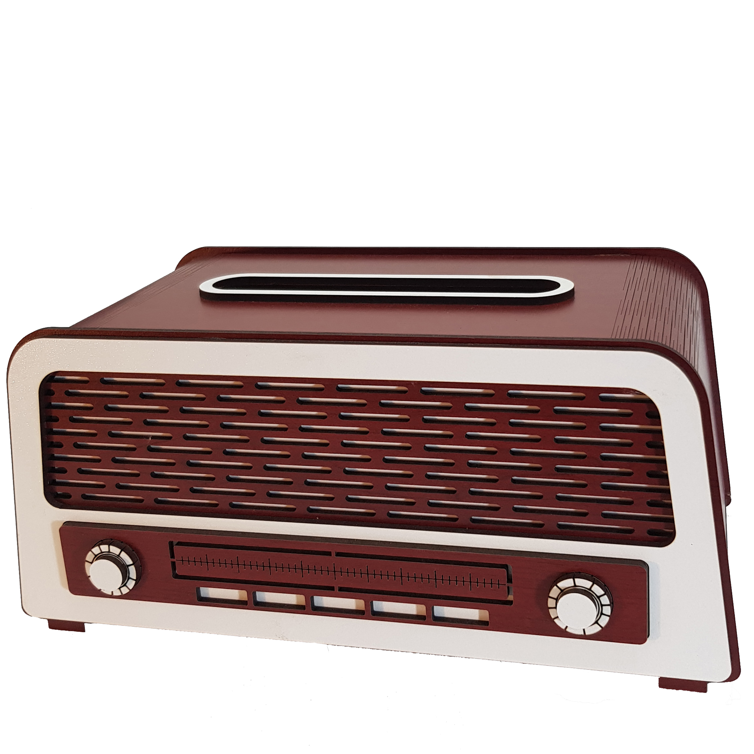 عکس جعبه دستمال کاغذی طرح رادیو