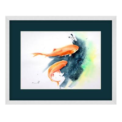 Photo of تابلو نقاشی آبرنگ طرح ماهی کد 039