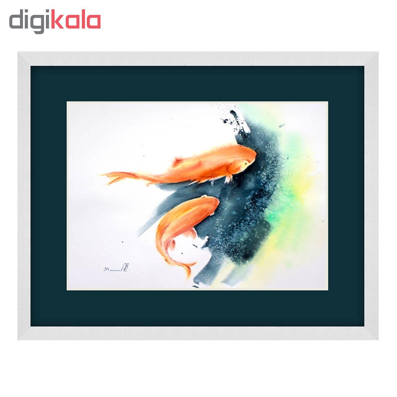 تابلو نقاشی آبرنگ طرح ماهی کد 039