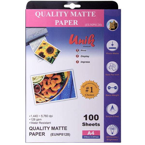 کاغذ چاپ عکس مات یونیک کد 8128 سایز A4 بسته 100
