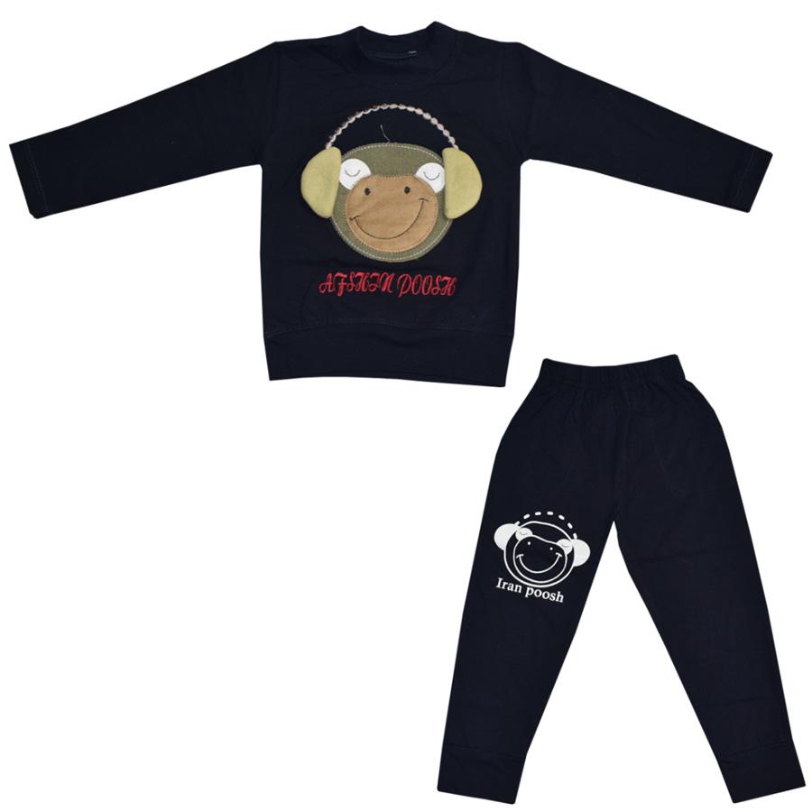 ست تی شرت و شلوار پسرانه طرح میمون کد 1809444