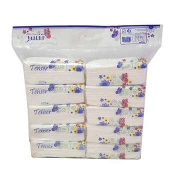 دستمال کاغذی 100 برگ تنسر کد 10 بسته 10 عددی