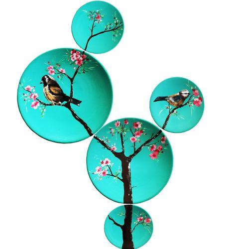 بشقاب سفالی طرح درخت و پرنده کد E.H660 مجموعه 5 عددی