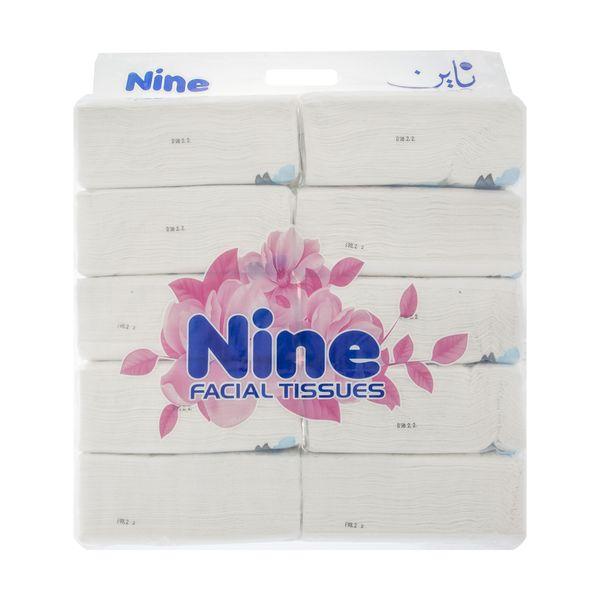 دستمال کاغذی 100 برگ ناین مدل Blue بسته 10 عددی