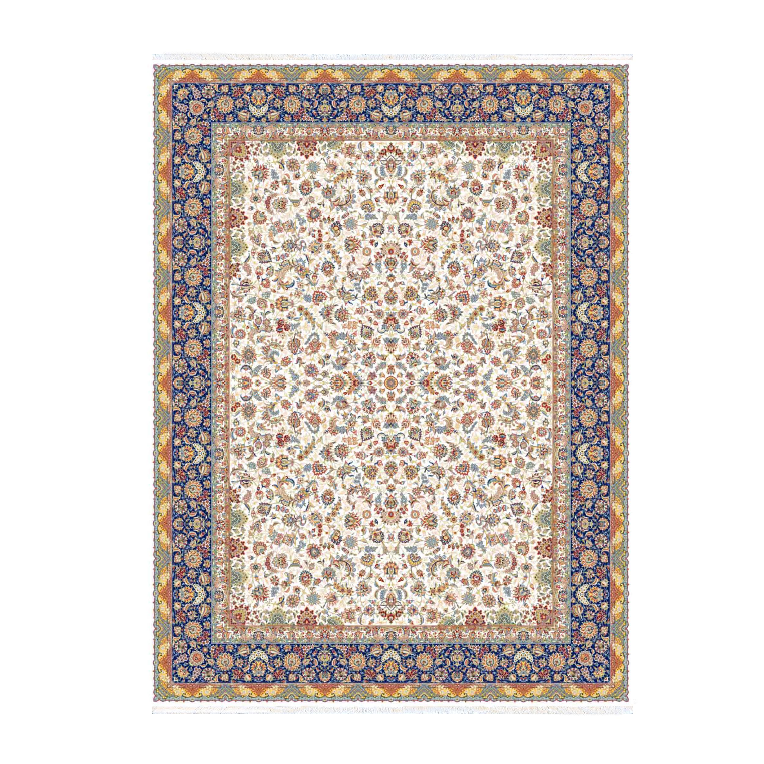 فرش ماشینی ستاره کویر یزد طرح هزار و یک شب کد افشان زمینه کرم