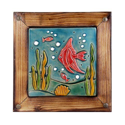تابلو سفالی خاکاب طرح ماهی قرمز