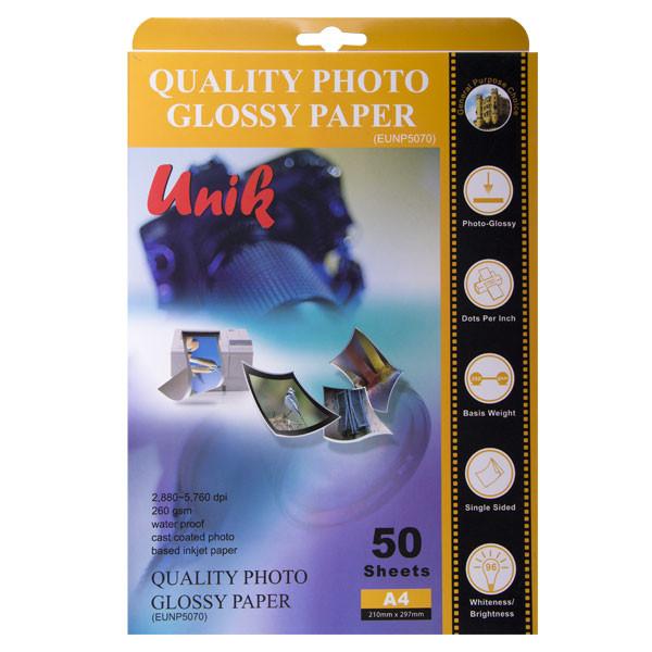 کاغذ چاپ عکس یونیک کد 5070 سایز A4 بسته 50 عددی