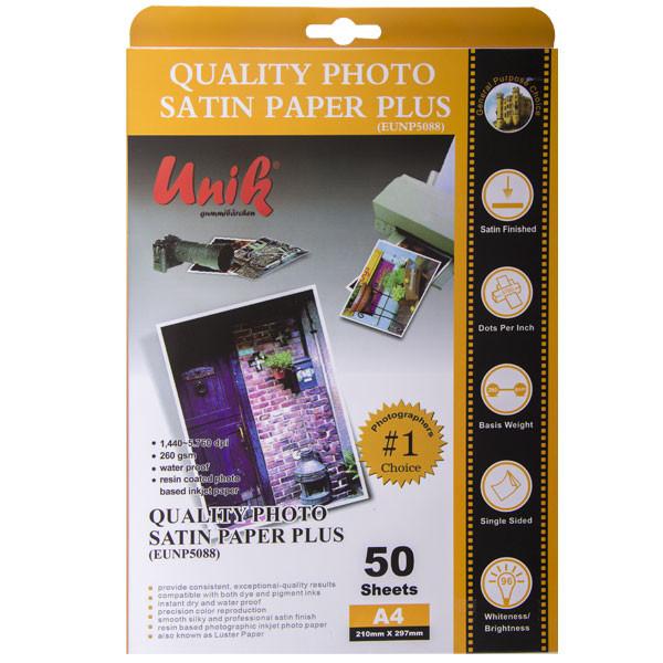 کاغذ چاپ عکس ساتین یونیک کد 5088 سایز A4 بسته 50 عددی