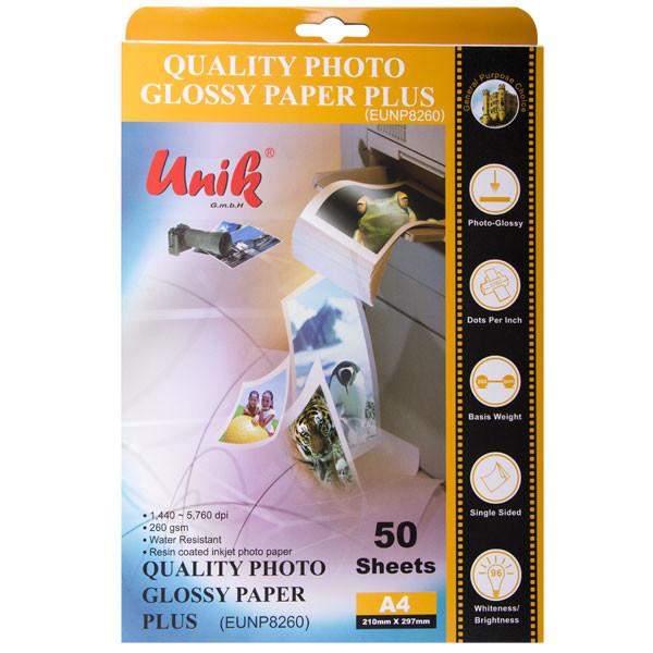 کاغذ چاپ عکس گلاسه یونیک کد 8260 سایز A4 بسته 50 عددی