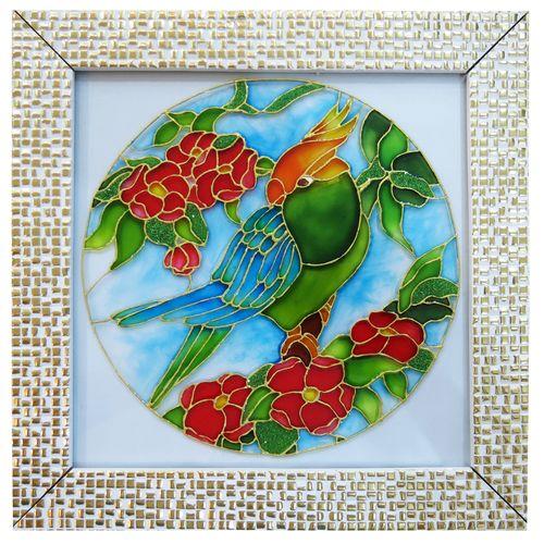 تابلوی ویترای طرح گل و طوطی