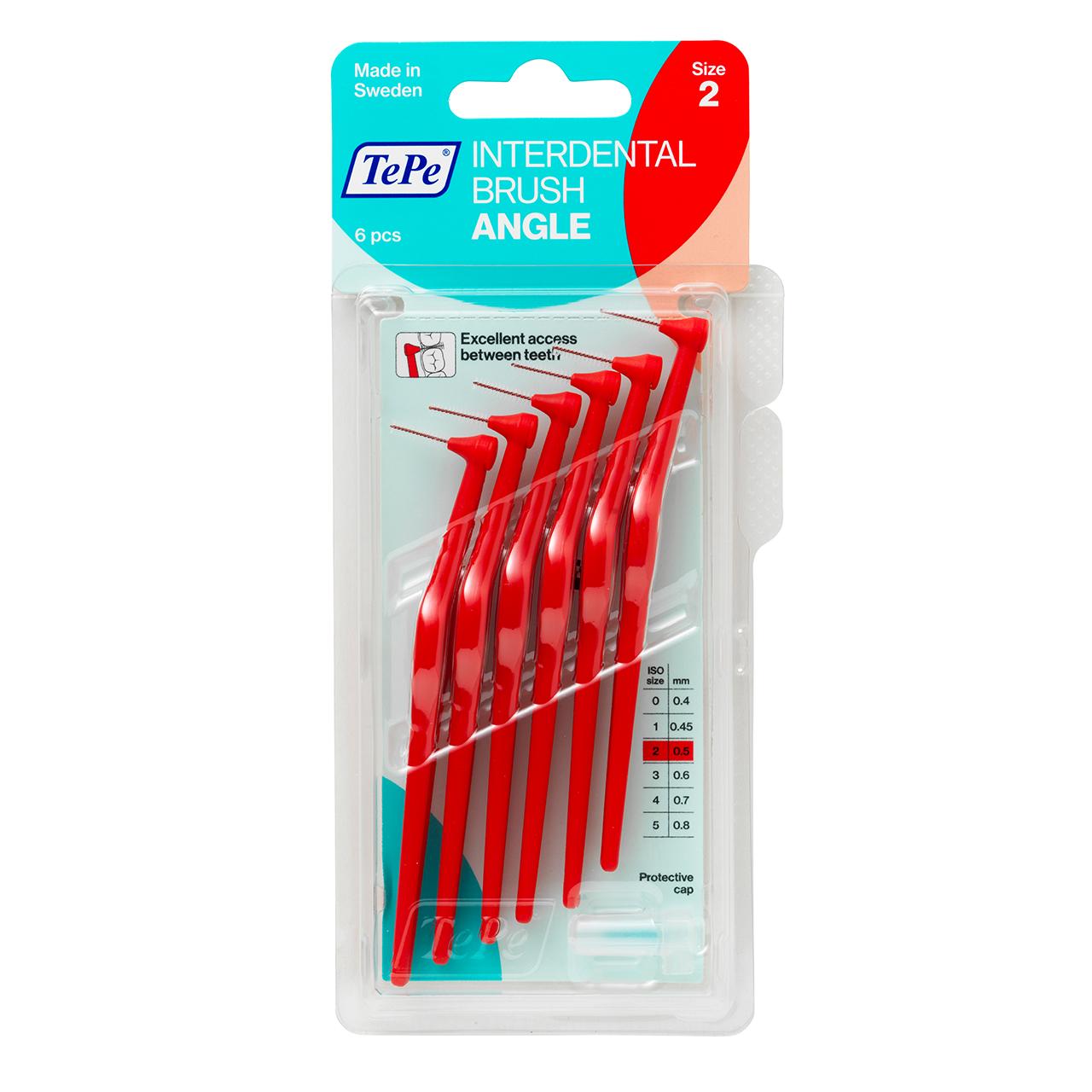 مسواک بین دندانی تهپه مدل Angle سایز 2 بسته ۶ عددی