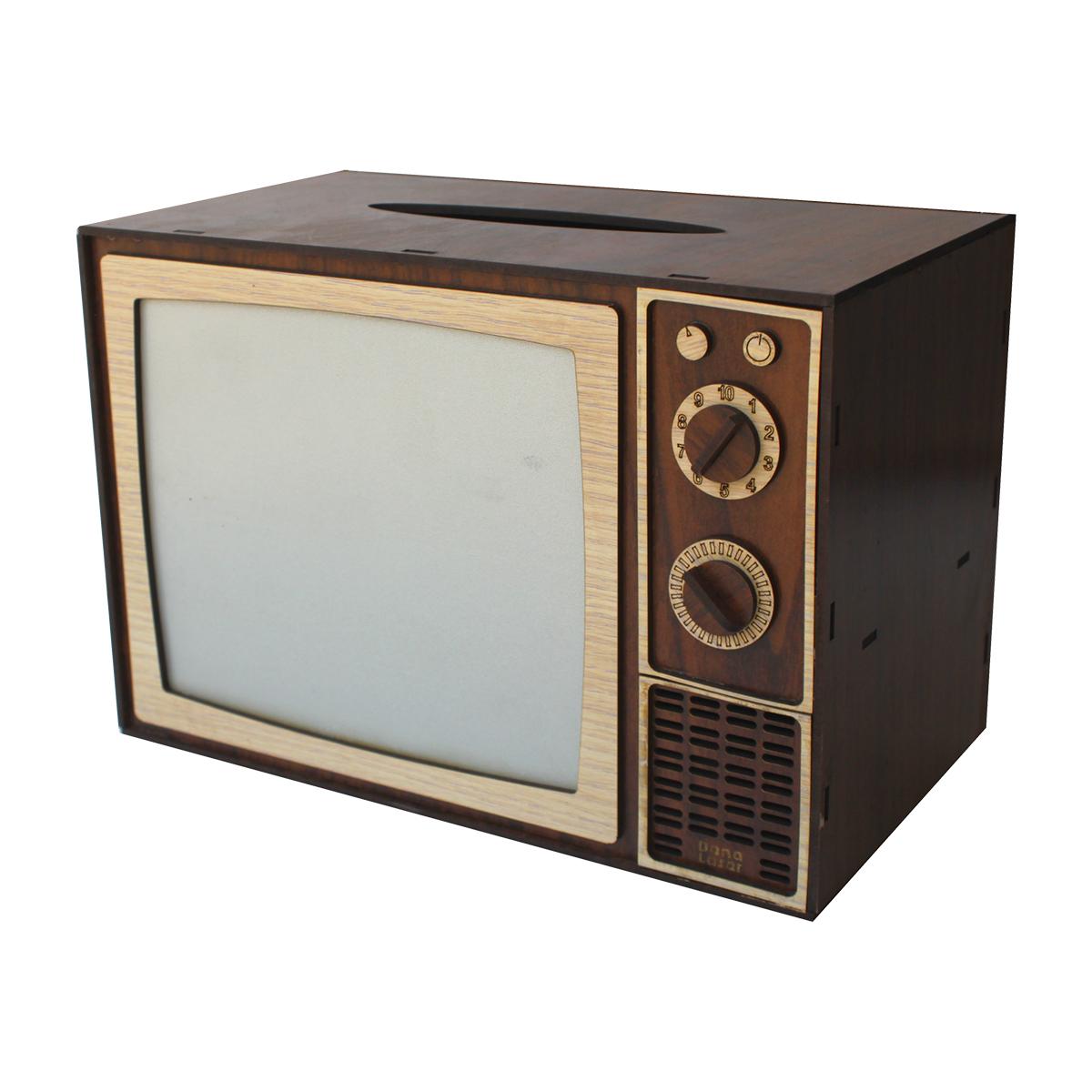 جعبه دستمال کاغذی دنالیزر طرح تلوزیون کدdt1