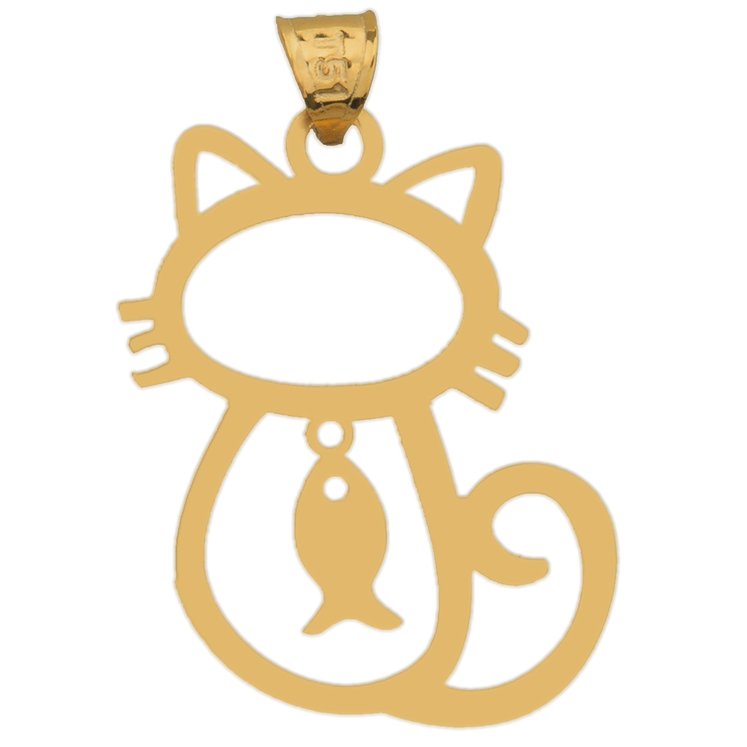 آویز گردنبند طلا 18عیار زنانه طرح گربه و ماهی مدل SG026