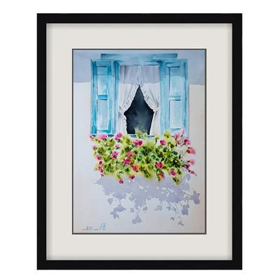 Photo of تابلو نقاشی آبرنگ طرح پنجره کد 065