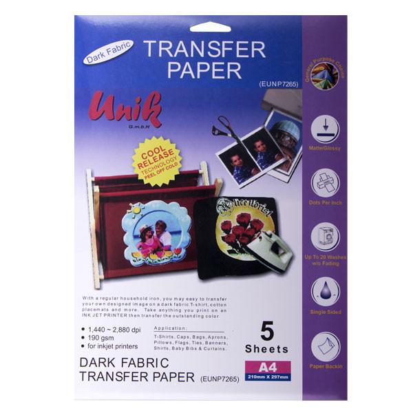 کاغذ سابلیمیشن یونیک کد 7265 سایز A4 بسته 5 عددی