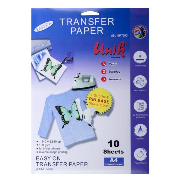 کاغذ سابلیمیشن یونیک کد 7260 سایز A4 بسته 10 عددی