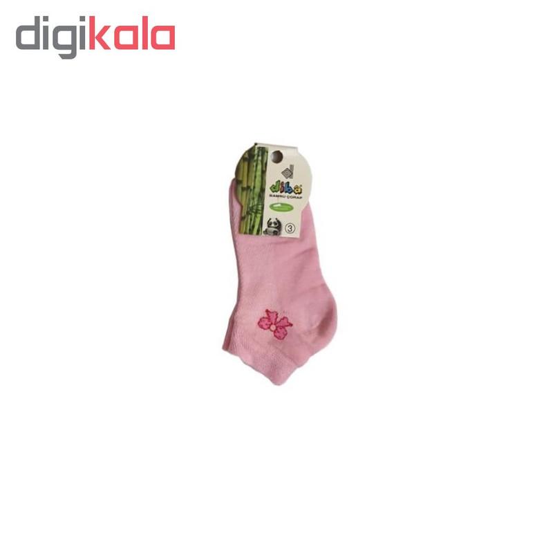 جوراب نوزادی دخترانه دیبا طرح پاپیون کد 16