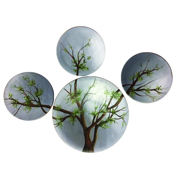 بشقاب سفالی طرح درخت بهار کد FR103مجموعه 4 عددی