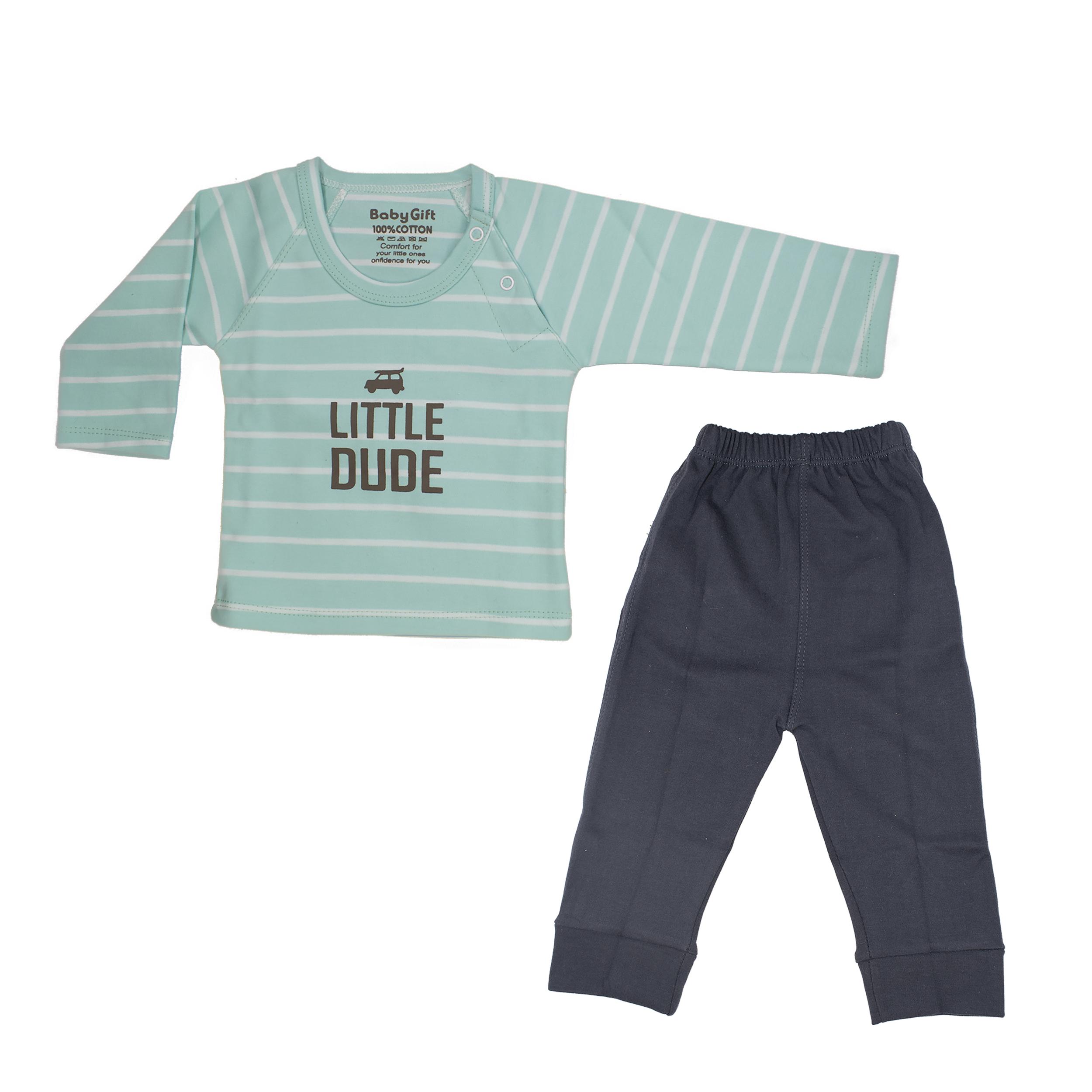 ست تی شرت و شلوار نوزادی پسرانه طرح ماشین