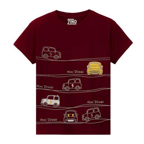 تی شرت پسرانه زینو طرح CARS رنگ زرشکی