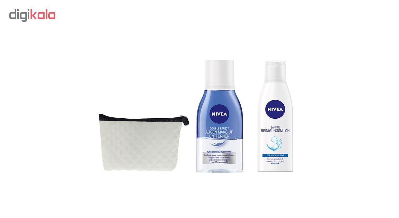 شیر پاک کن نیوآ مدل Refreshing مناسب پوست نرمال حجم 200 میلی لیتر به همراه محلول پاک کننده آرایش چشم مدل Double Effect حجم 125 میلی لیتر
