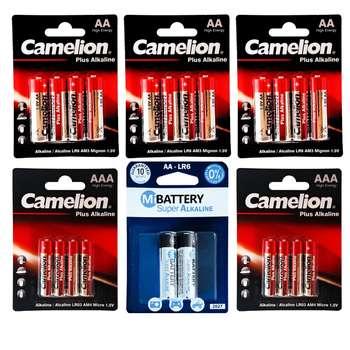 باتری قلمی و نیم قلمی کملیون مدل Plus Alkaline بسته 20 عددی به همراه 2 عدد باتری قلمی می