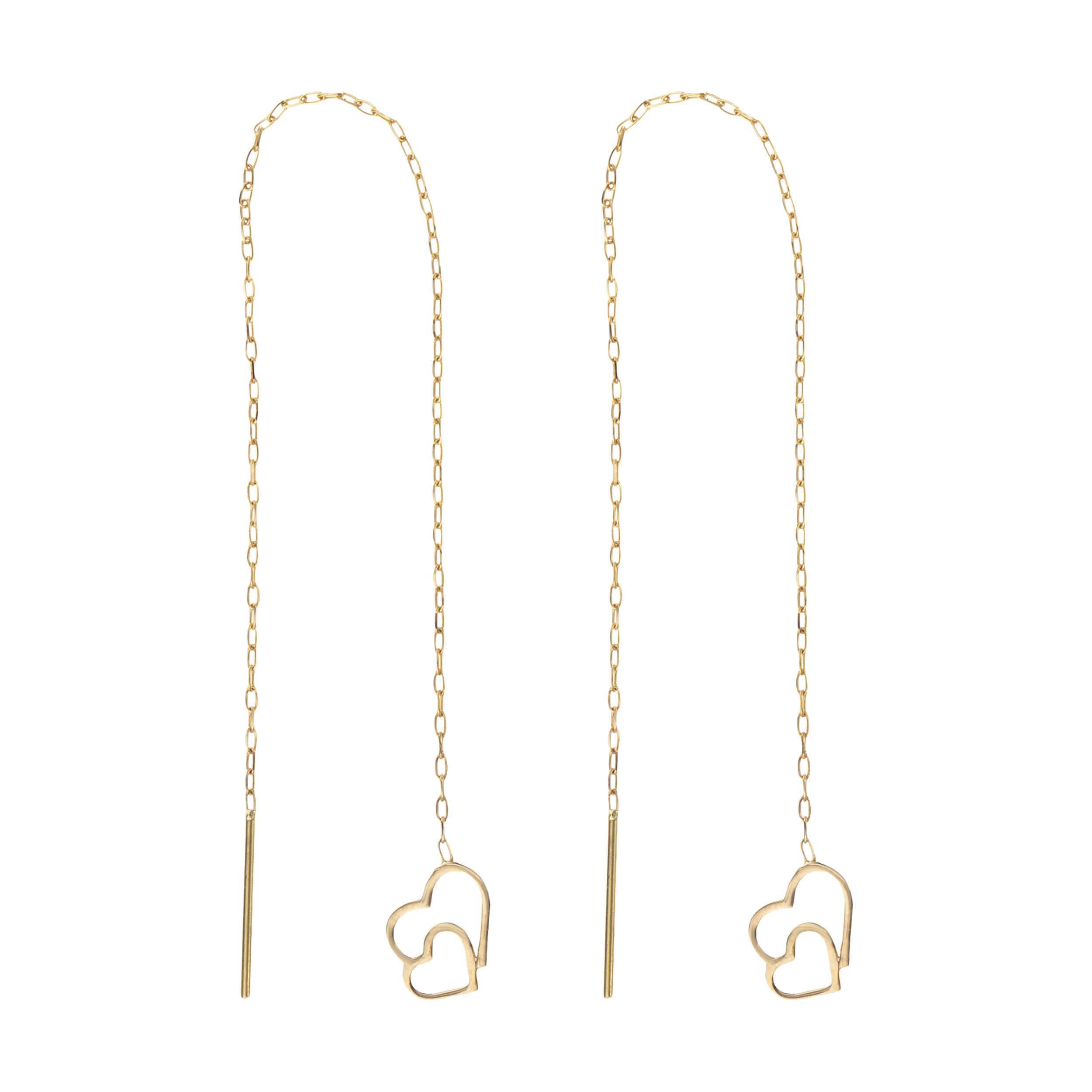 گوشواره طلا 18 عیار زنانه طرح قلب کد EL-004