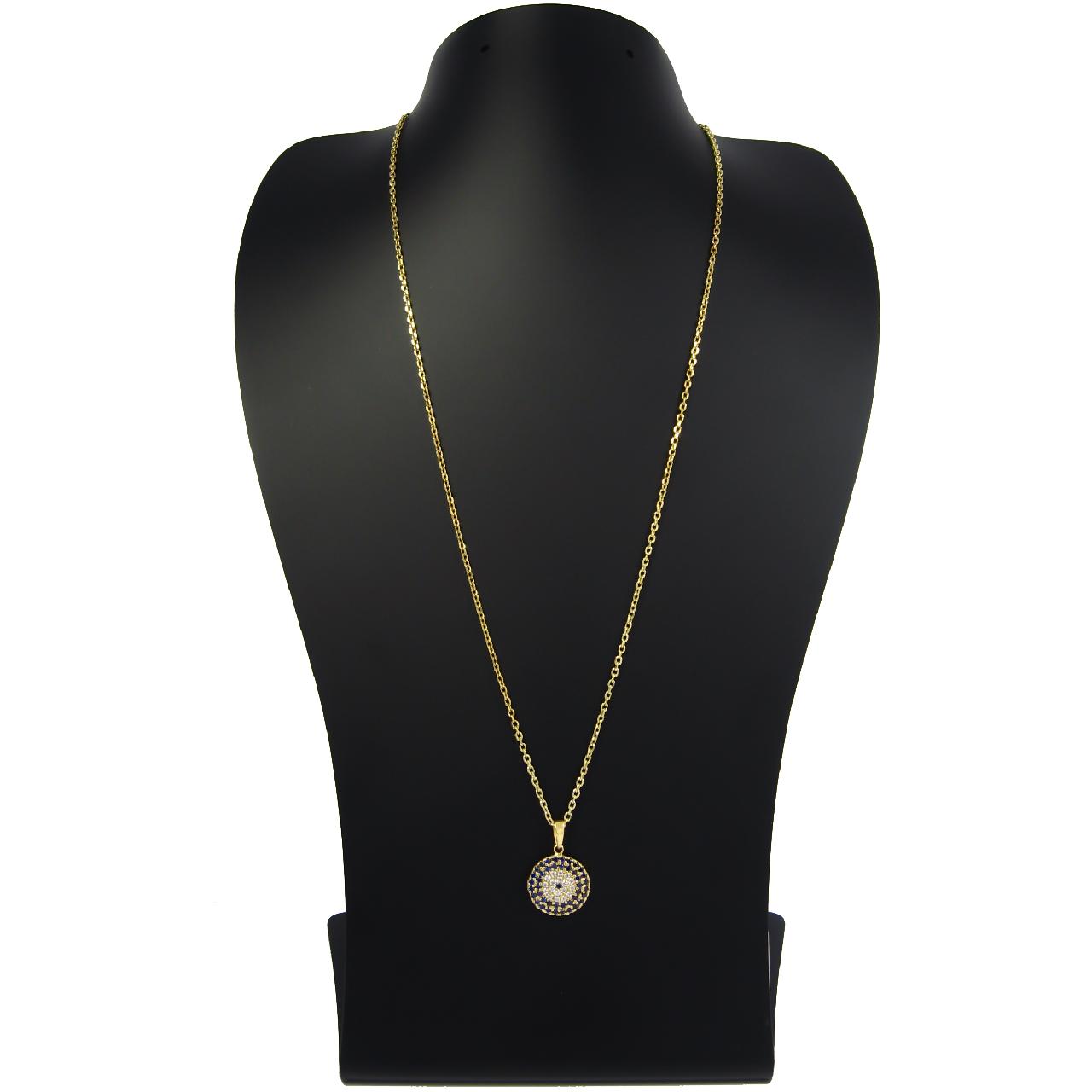 قیمت گردنبند طلا 18 عیار زنانه مانچو طرح چشم نظر مدل sfgs003