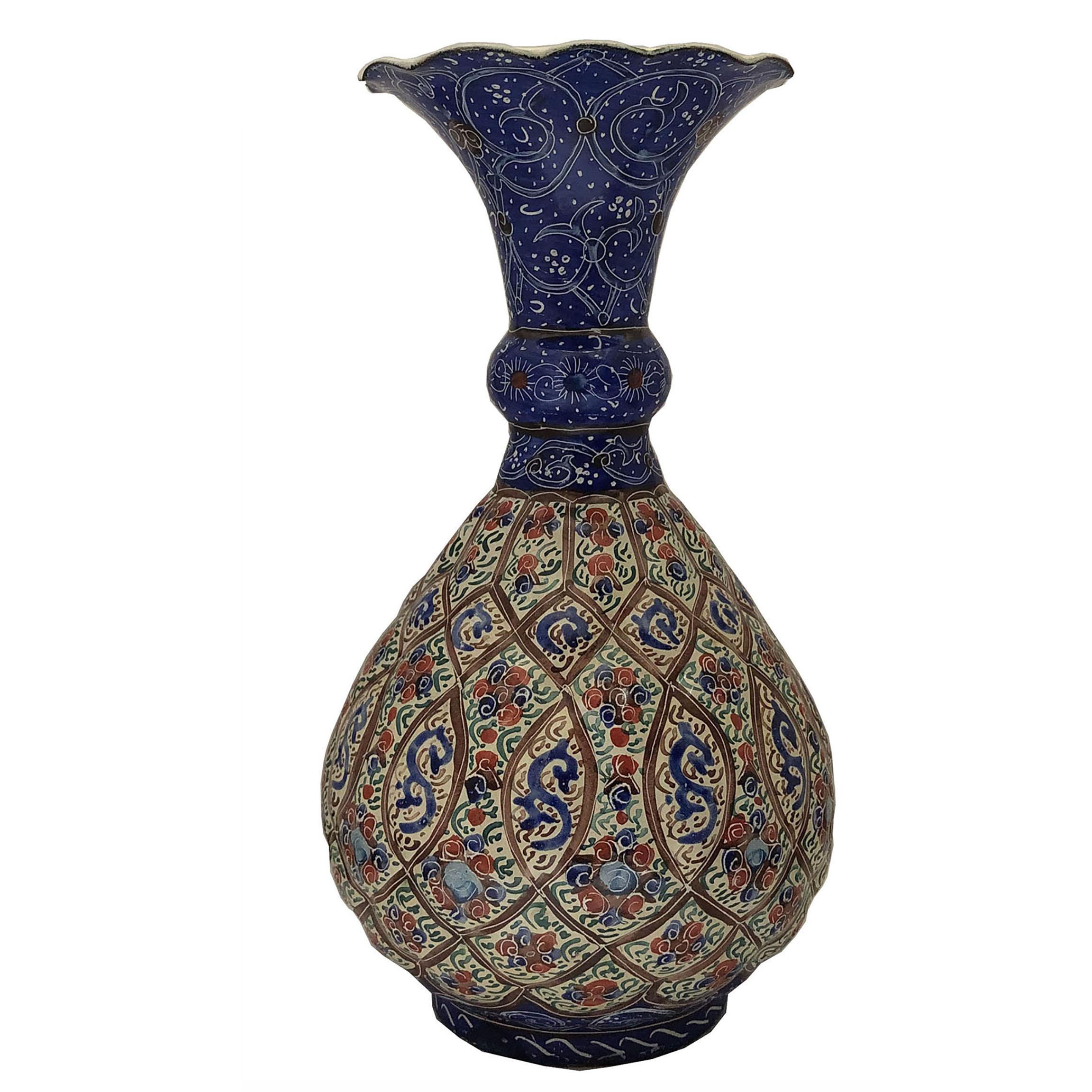 عکس گلدان میناکاری مسی طرح اسلیمی کد 1204