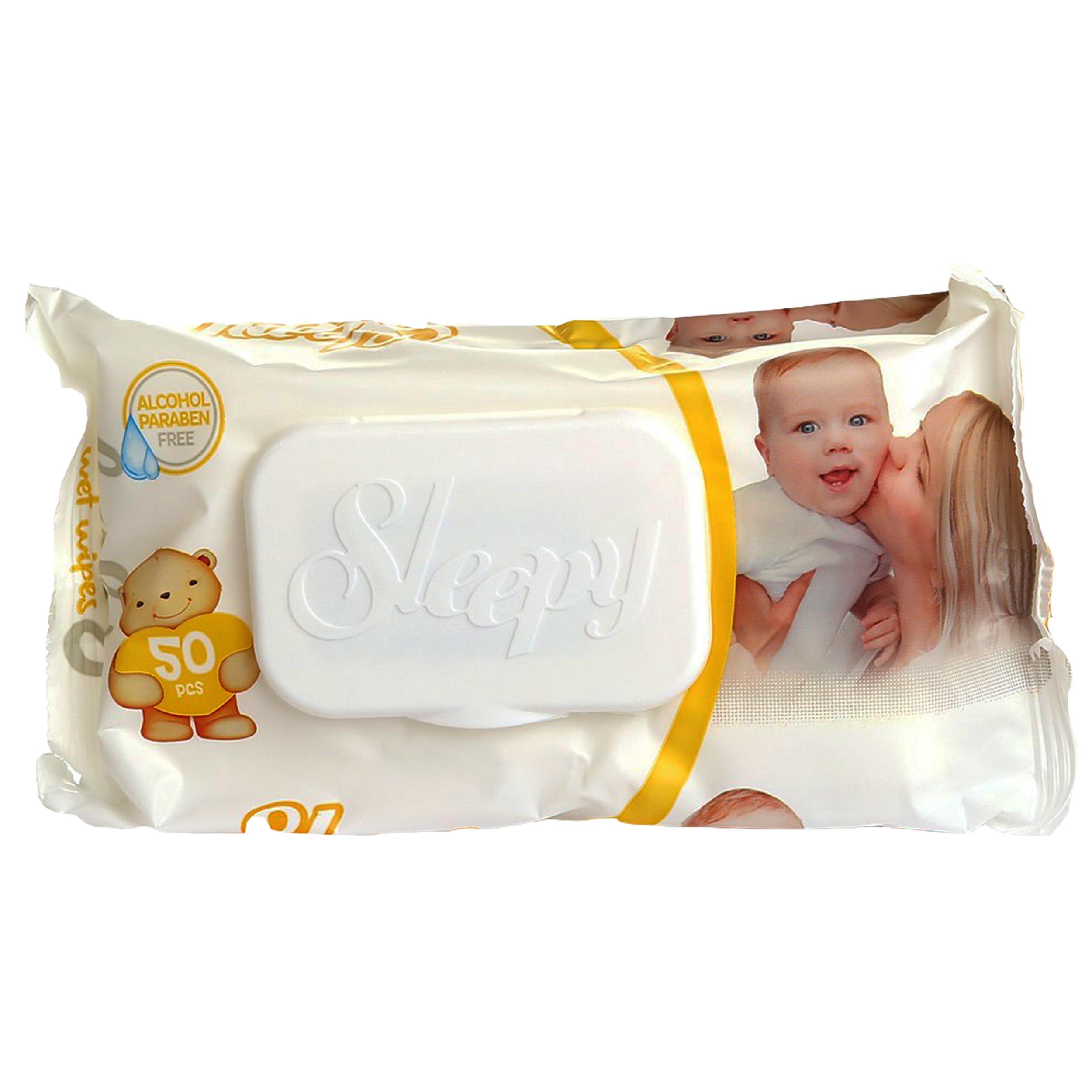 دستمال مرطوب کودک اسلیپی مدل AB120/06 بسته 50 عددی