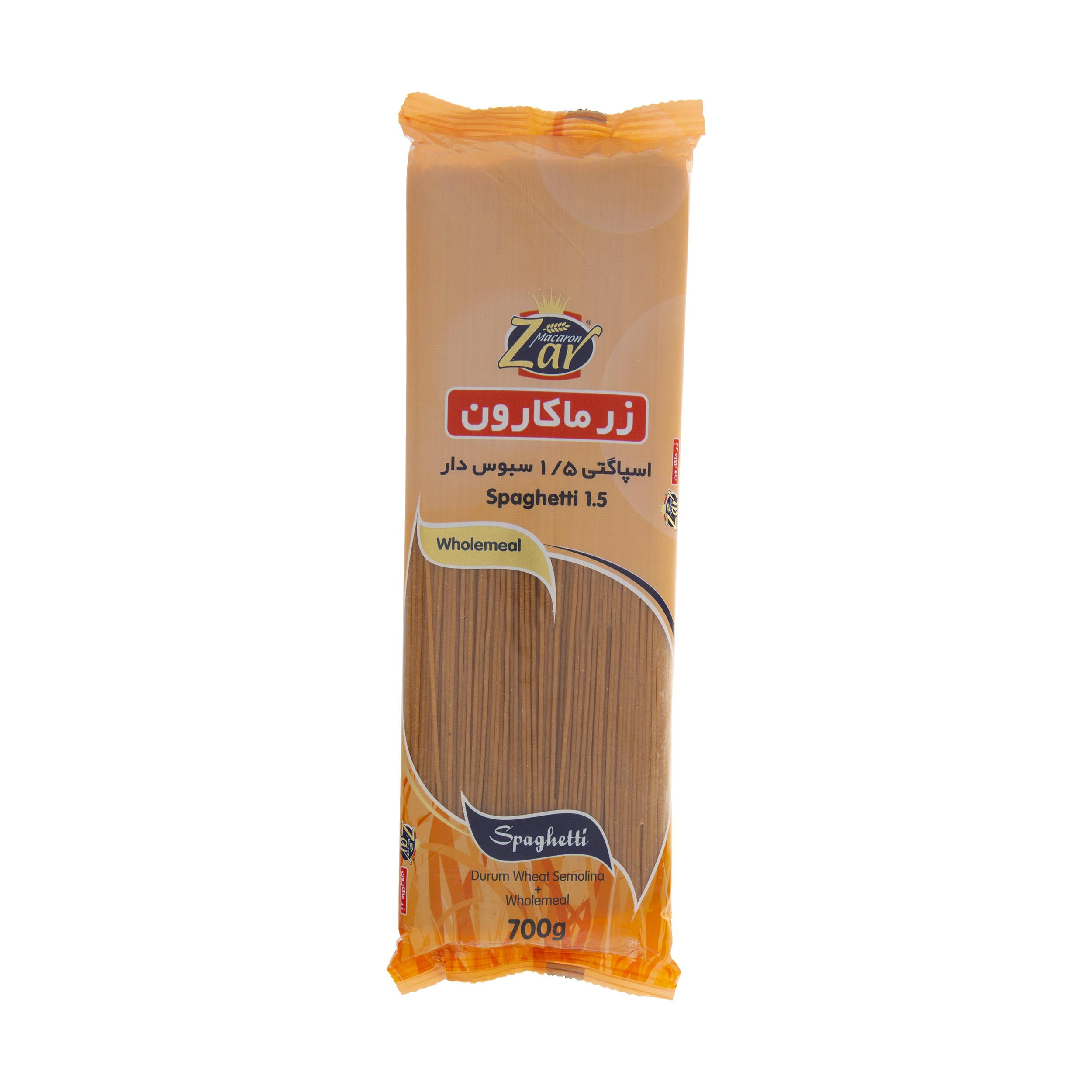 اسپاگتی قطر 1.5 سبوس دار زر ماکارون وزن 700 گرم