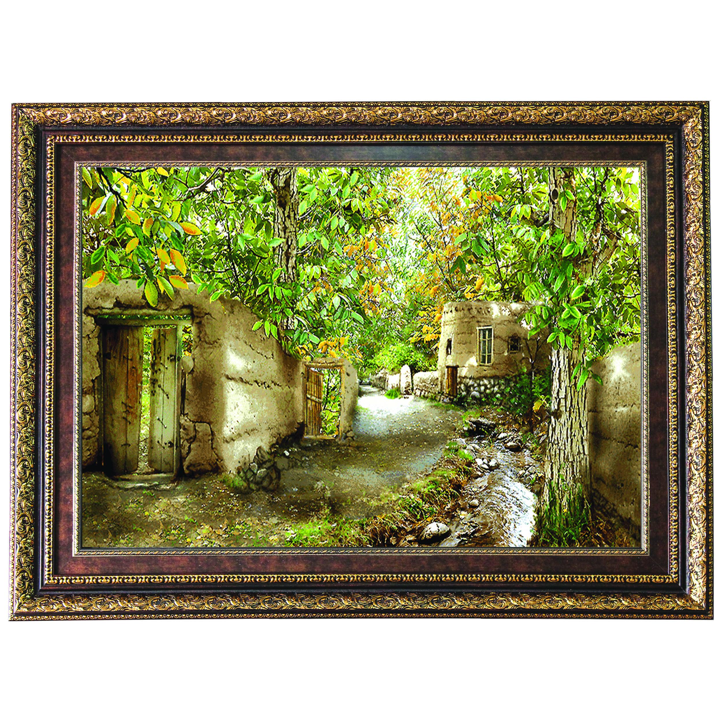 تابلو فرش ماشینی طرح کوچه باغ کد FL1882