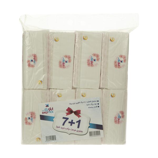 دستمال کاغذی 150 برگ دو لایه ایزی پیک مدل Luxury طرح Flower  بسته 8 عددی