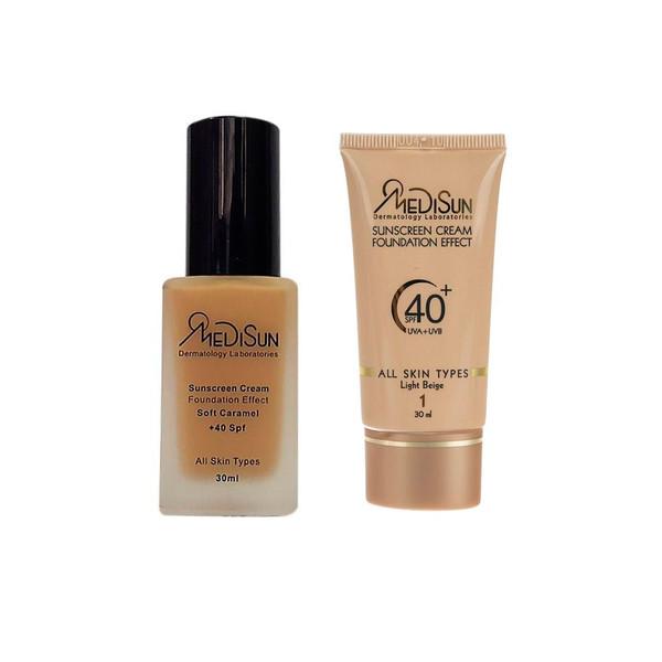 کرم پودر مدیسان مدل Soft Caramel حجم 30 میلی لیتر به همراه ضد آفتاب مدل Dermatology Laboratorles