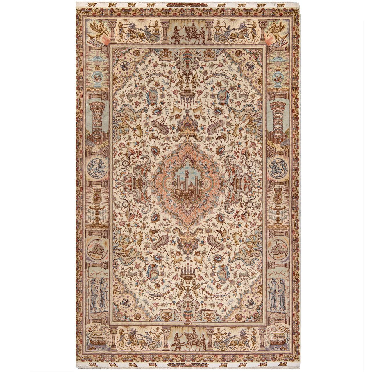 فرش دستباف هفت و نیم متری طرح گل نامی 32569