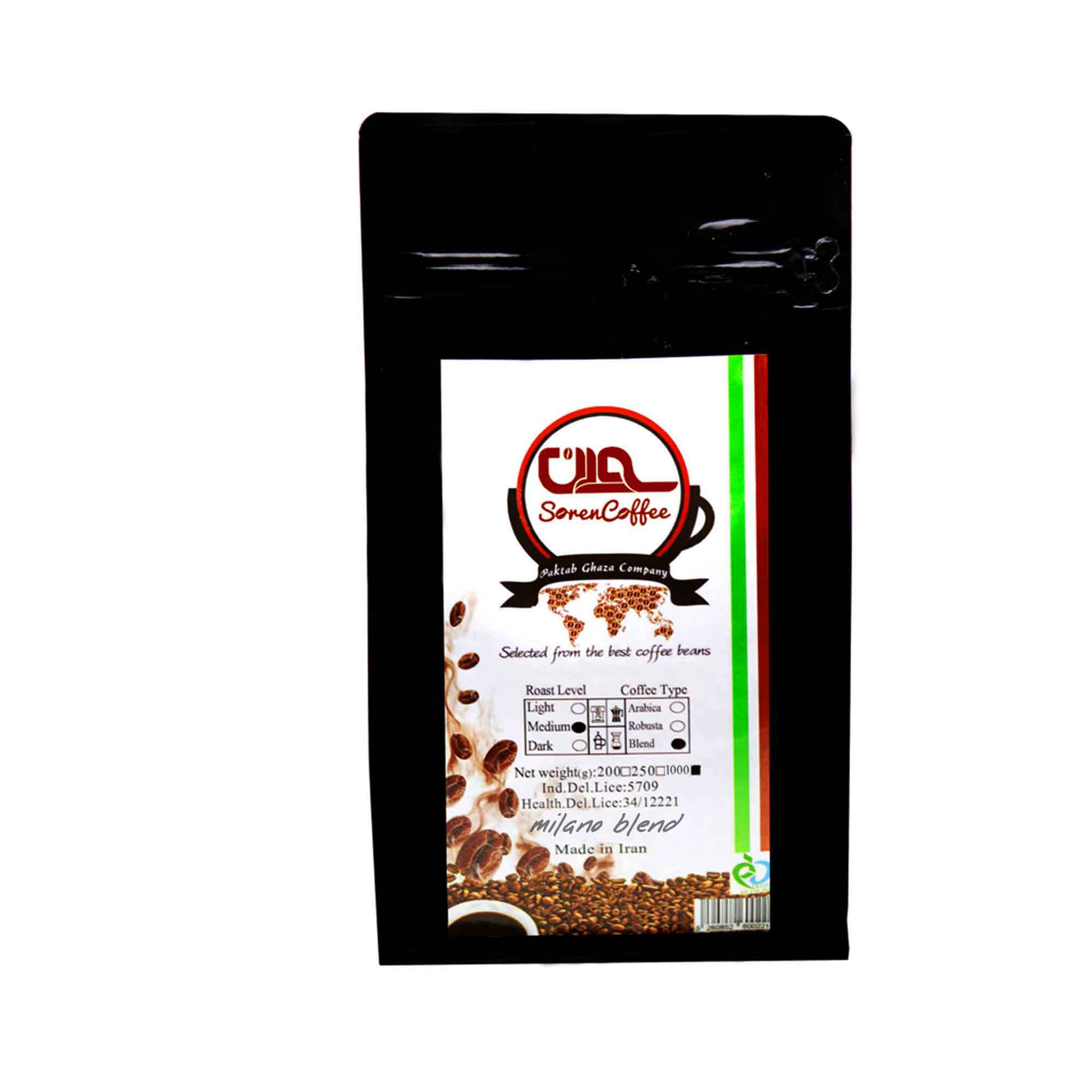 دانه قهوه اسپرسو سورن مدل میلانو مقدار 1000 گرم