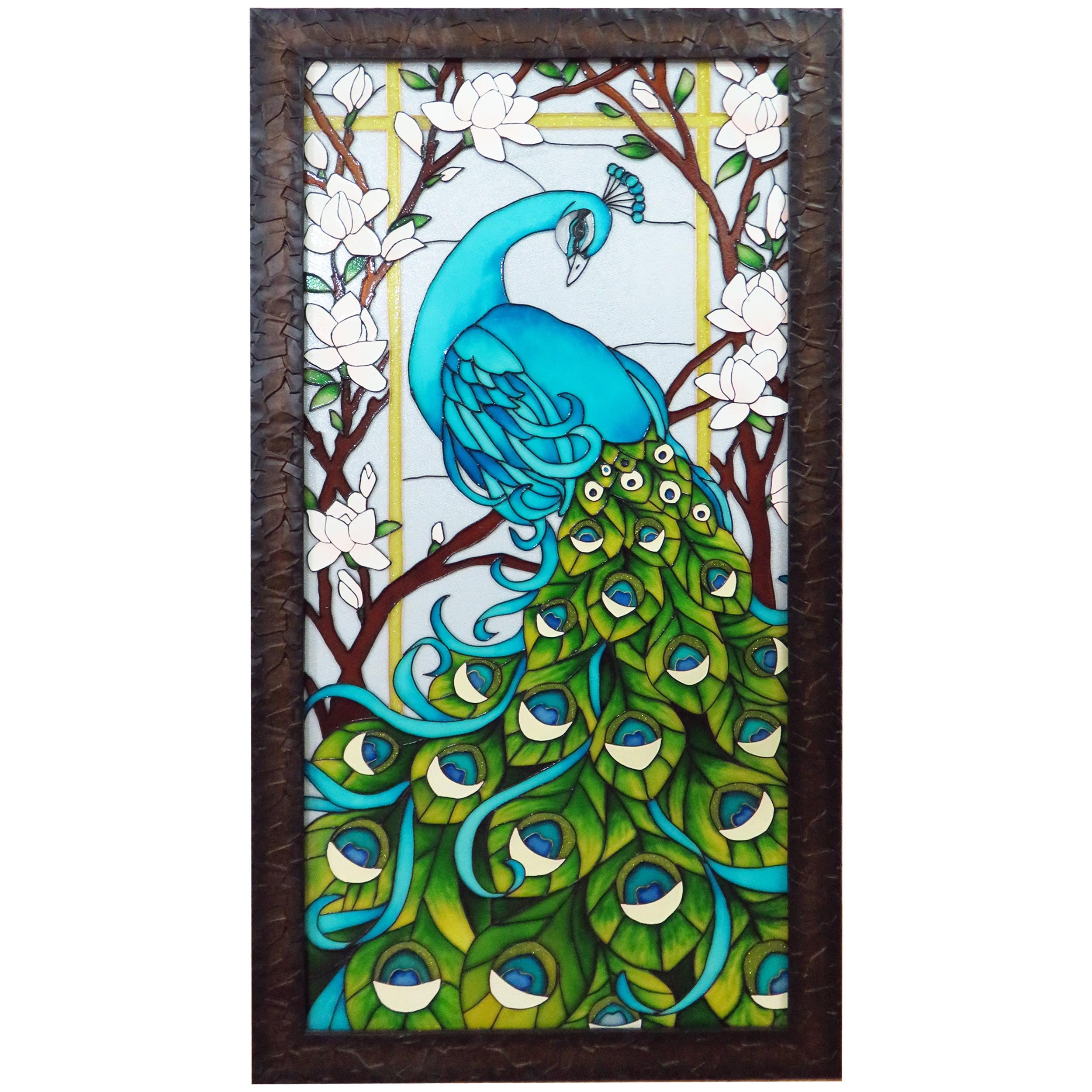 تابلوی ویترای طرح طاووس