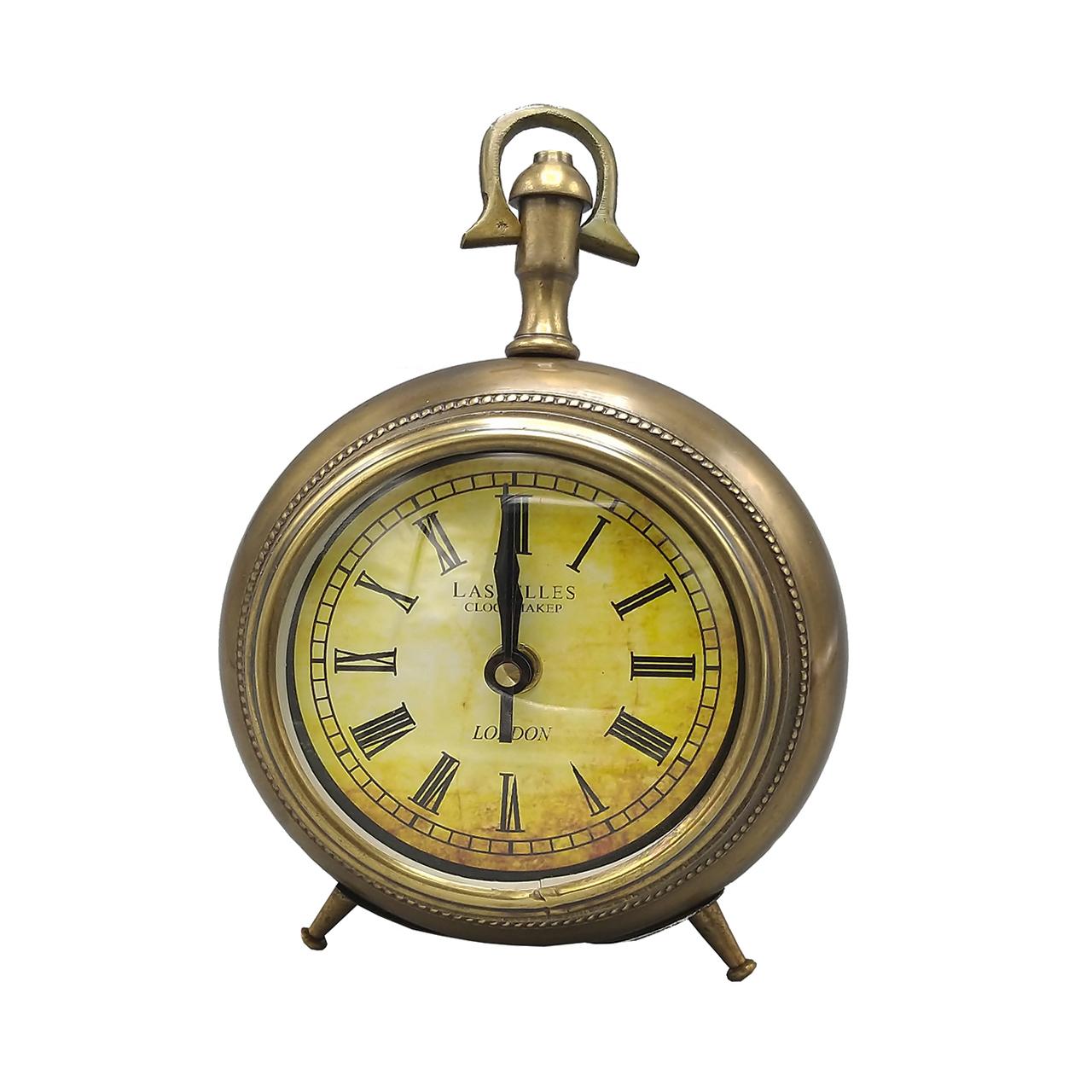 ساعت رومیزی برنجی لاسکلس طرح آنتیک کد Ia-210