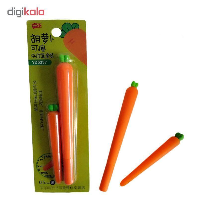 خرید لوازم تحریر فانتزی - خودکار فانتزی با طرح هویج به همراه پاک کن۳