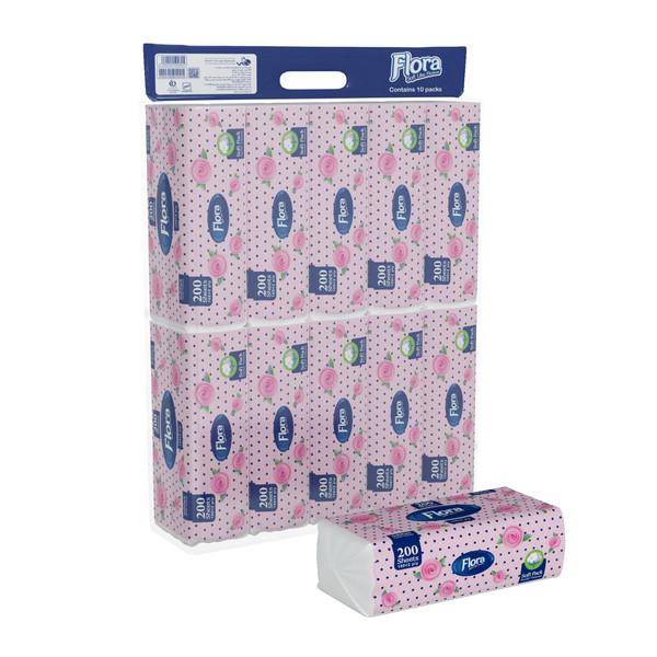 دستمال کاغذی 100 برگ فلورا مدل Soft Pack بسته 10 عددی