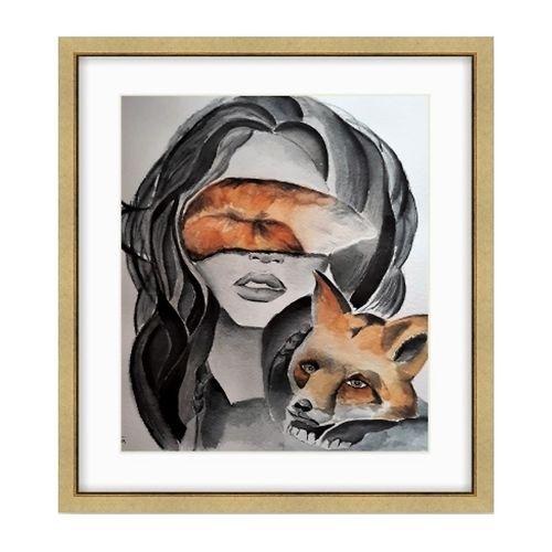 تابلو نقاشی طرح چهره مدل بینا