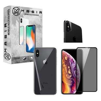 محافظ صفحه نمایش حریم شخصی و پشت گوشی مسیر مدل MGPR-BCK-LNZ مناسب برای گوشی موبایل اپل Iphone X/XS به همراه محافظ لنز دوربین