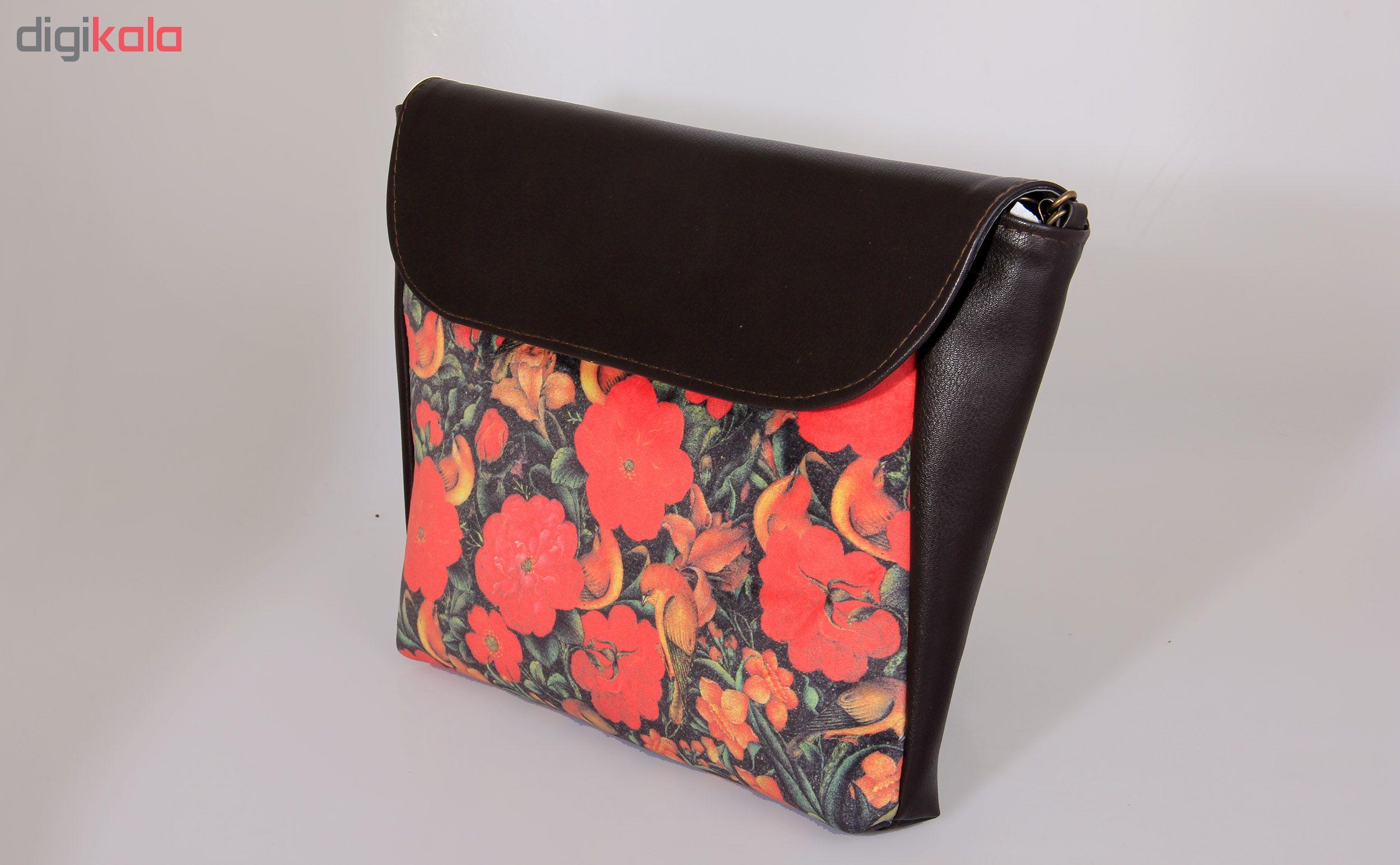 کیف رو دوشی چرمی مدل گل و مرغ کد CS1