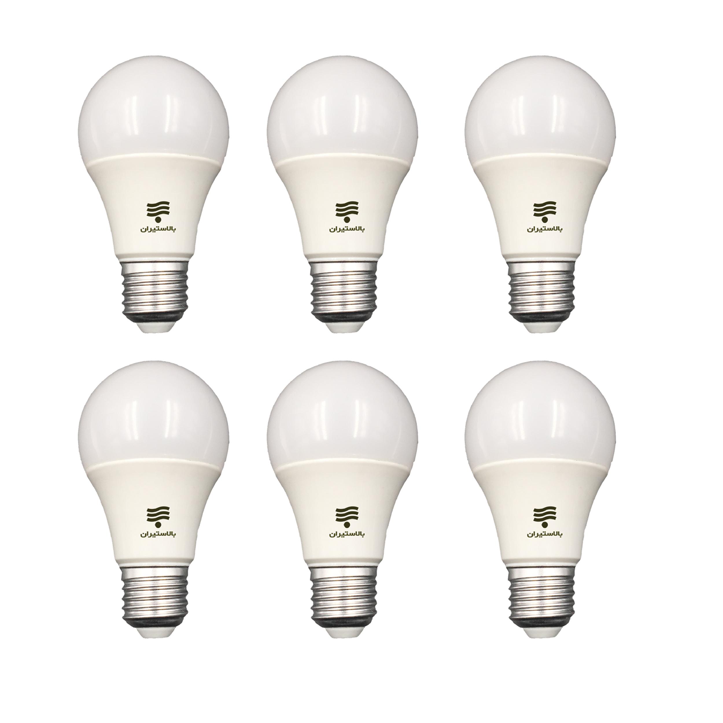 لامپ ال ای دی 12 وات بالاستیران مدل B126 پایه E27 بسته 6 عددی