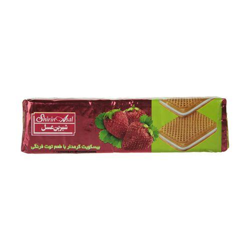 بیسکوئیت کرم دار با طعم توت فرنگی شیرین عسل وزن 120 گرم