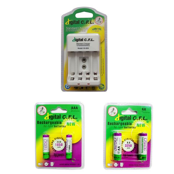 شارژر باتری دیجیتال سی.اف.ال کد 804 به همراه 2 عدد باتری قلمی و 2 عدد باتری نیم قلمی