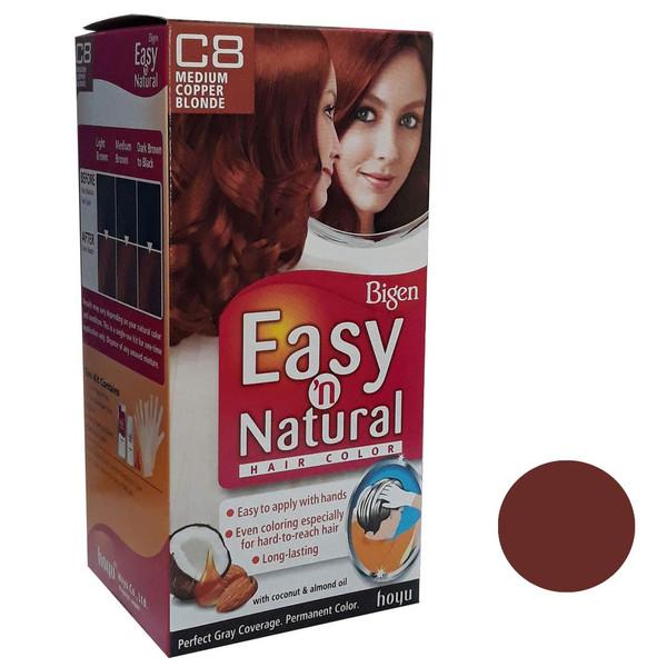کیت رنگ مو بیگن سری Easy Natural شماره C8 حجم 75 میلی لیتر رنگ بلوند مسی متوسط