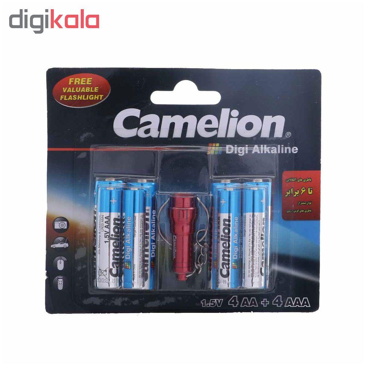 باتری کملیون مدل Digi Alkaline بسته 8 عددی به همراه چراغ قوه main 1 1