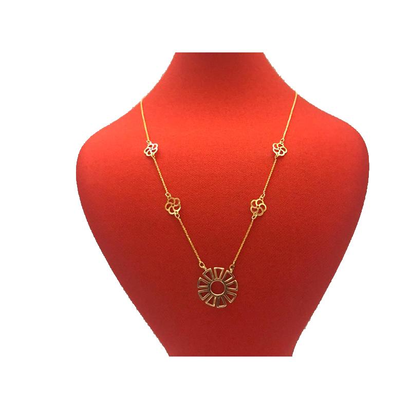 گردنبند طلا 18 عیار زنانه طرح گل کد 112